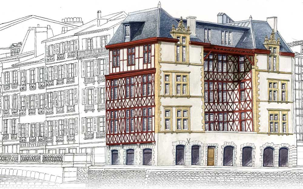 Galerie dessins bayonne par dominique duplantier for Maison sur bayonne